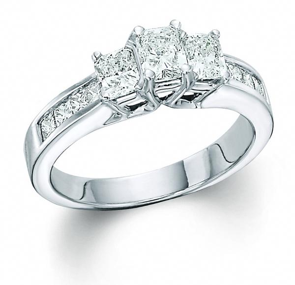 View Radiant Cut 3 Stone Ring With Sides