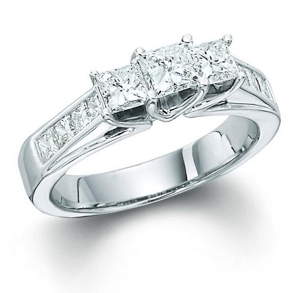 View Princess 3 Stone Ring With Sides