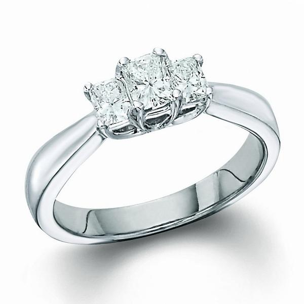 View Radiant Cut 3 Stone Ring